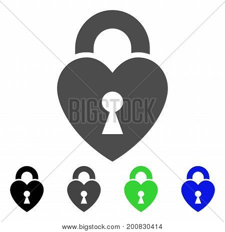 Heart Lock flat vector pictogram. Colored heart lock, gray, black, blue, green icon variants. Flat icon style for graphic design.