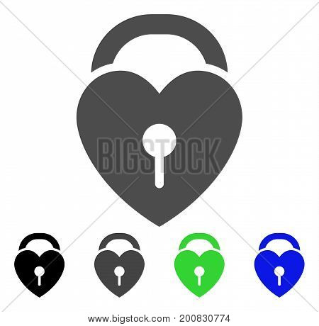 Love Heart Lock flat vector illustration. Colored love heart lock, gray, black, blue, green pictogram variants. Flat icon style for application design.