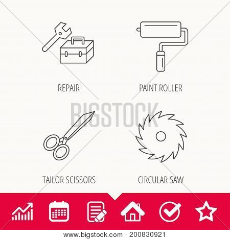 Scissors, paint roller and repair tools icons. Circular saw linear sign. Edit document, Calendar and Graph chart signs. Star, Check and House web icons. Vector
