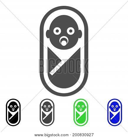 Newborn flat vector pictograph. Colored newborn, gray, black, blue, green icon versions. Flat icon style for graphic design.