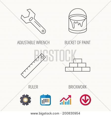 Brickwork, measurement and adjustable wrench icons. Bucket of paint linear sign. Calendar, Graph chart and Cogwheel signs. Download colored web icon. Vector