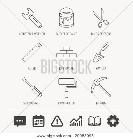 Screwdriver, scissors and adjustable wrench icons. Spatula, mining tool and paint roller linear signs. Brickwork, ruler and painting icons. Education book, Graph chart and Chat signs. Vector