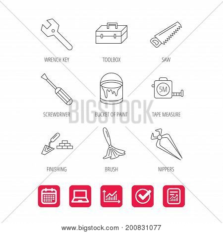 Wrench key, screwdriver and paint brush icons. Toolbox, nippers and saw linear signs. Finishing spatula icon. Report document, Graph chart and Calendar signs. Laptop and Check web icons. Vector