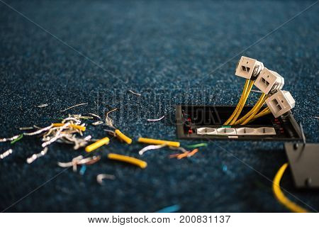 Electric Sockets And Sockets For Network Connectors Rj45, Installation Process, Office. Set
