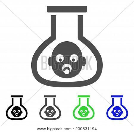 Test Tube Baby flat vector illustration. Colored test tube baby, gray, black, blue, green pictogram versions. Flat icon style for web design.