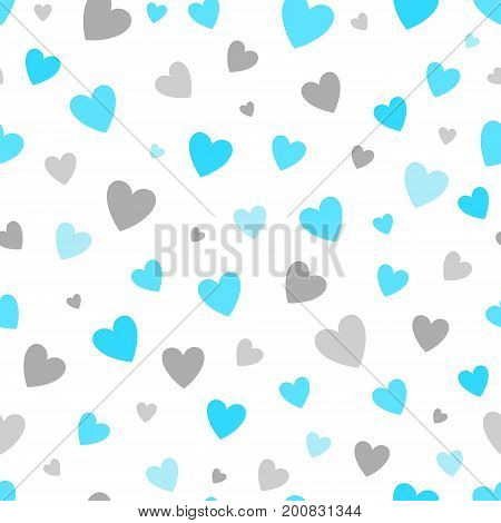 seamless pattern white background with blue and silver hearts. design for holiday greeting card and invitation of baby shower, birthday, wedding, Happy Valentine's day, and mother's day.