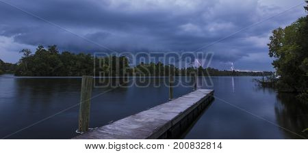 Night time thunderstorm at Lake Moultrie, South Carolina