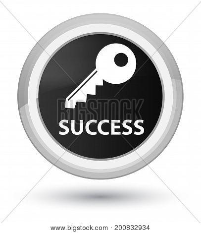 Success (key Icon) Prime Black Round Button