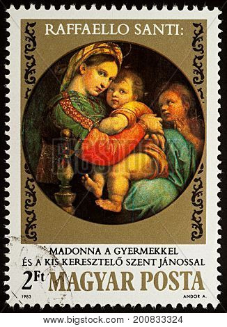 Moscow Russia - August 22 2017: A stamp printed in Hungary shows painting