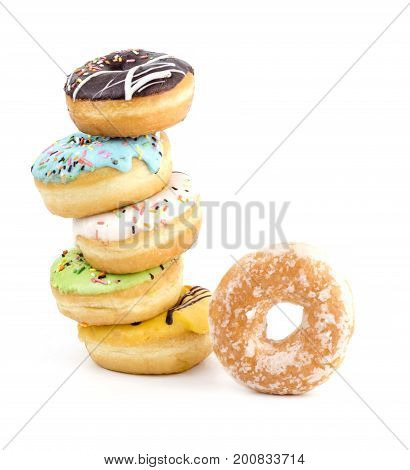Donut With Sprinkles Isolated On White Background, Studio Shoot