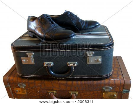 Vintage Luggage And Mens Dress Shoes