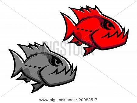 Danger piranha fish isolated on white for design poster