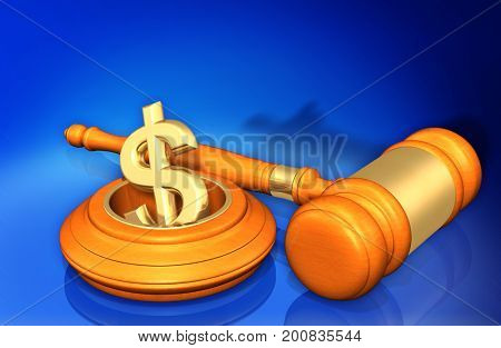 Law Concept Dollar Dropping In A Hole 3D Illustration