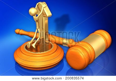 Law Concept The Original 3D Character Illustration Riding An Arrow Out Of A Hole