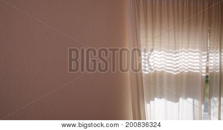 A blank interior textured wall fills half the frame and on the right is a curtained window with sunlight shining through sheer drapes.