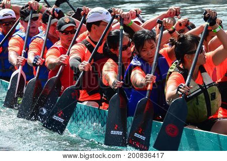 Victoria BC,Canada,August 16th 2014.The annual Dragon Boat races in Victoria pits competitive teams against each other.Here the team of rowers shows their intensity as they race to the finish.