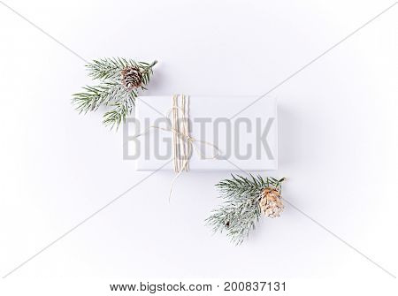 White Christmas Gift Box with Spruce