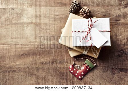 Vintage Christmas Gift Boxes on Wooden Background