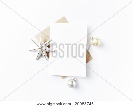 Blank Greeting Card and Christmas Decorations