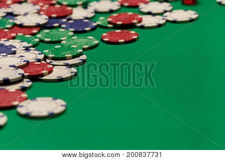 Poker gambling chips poster template. Casino background with chips