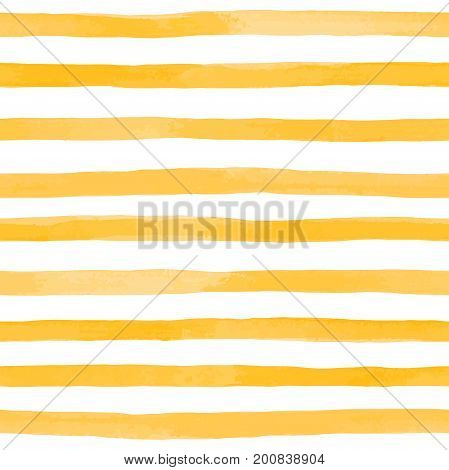 Beautiful seamless pattern with Orange yellow watercolor stripes. hand painted brush strokes striped background. Vector illustration.