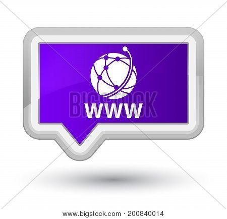 Www (global Network Icon) Prime Purple Banner Button