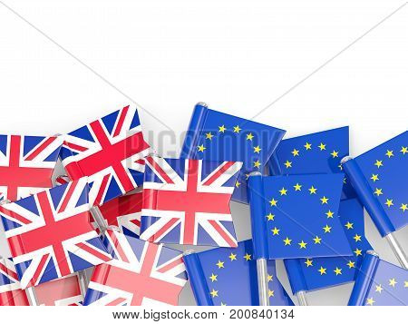 Flag Pins Of United Kingdom And Eu Isolated On White