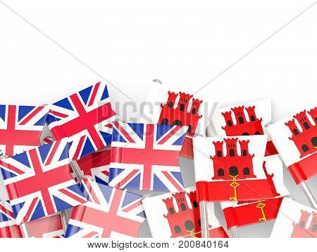 Flag Pins Of United Kingdom And Gibraltar Isolated On White