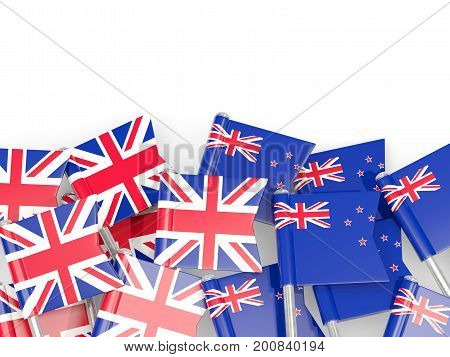 Flag Pins Of United Kingdom And New Zealand Isolated On White