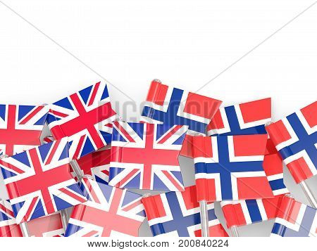 Flag Pins Of United Kingdom And Norway Isolated On White