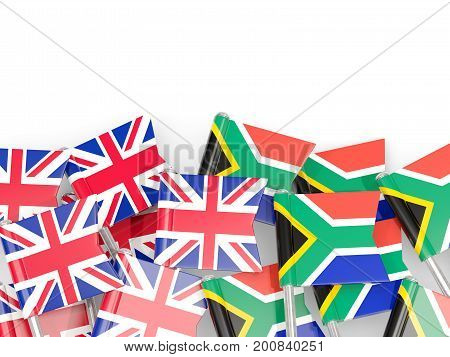 Flag Pins Of United Kingdom And South Africa Isolated On White