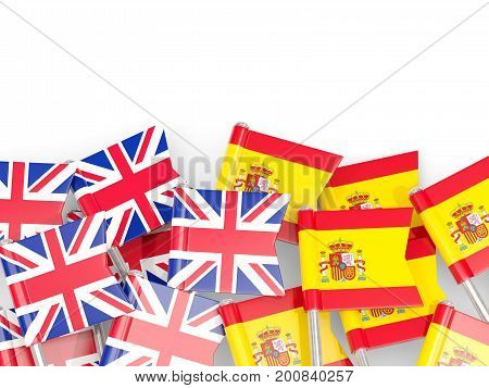 Flag Pins Of United Kingdom And Spain Isolated On White