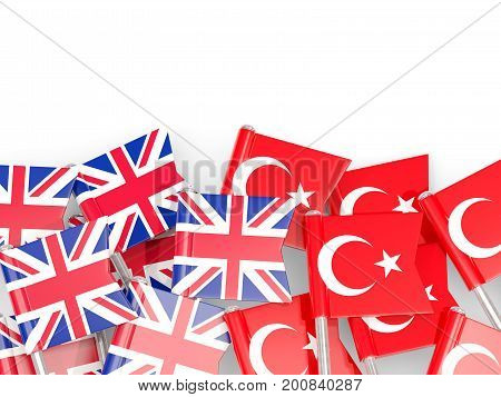 Flag Pins Of United Kingdom And Turkey Isolated On White
