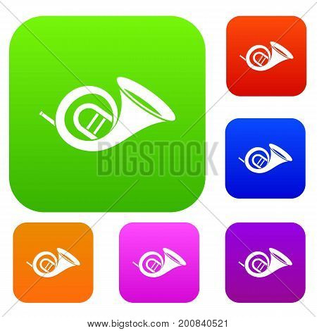 French horn set icon in different colors isolated vector illustration. Premium collection