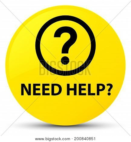 Need Help (question Icon) Yellow Round Button