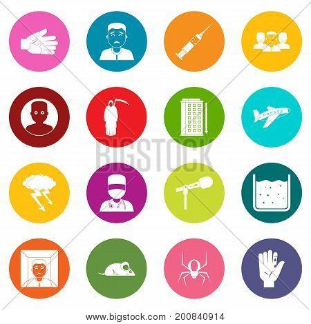 Phobia symbols icons many colors set isolated on white for digital marketing