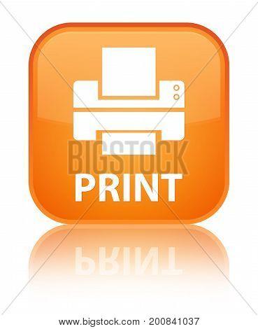 Print (printer Icon) Special Orange Square Button