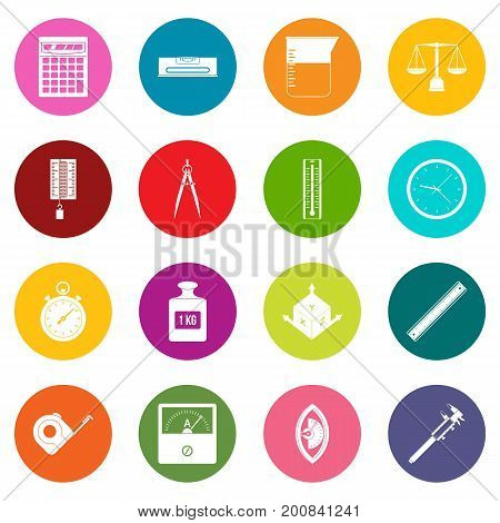 Measure precision icons many colors set isolated on white for digital marketing