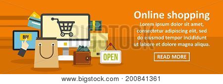 Online shopping banner horizontal concept. Flat illustration of online shopping banner horizontal vector concept for web
