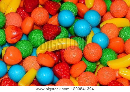Colorful candy assortment on display at the store