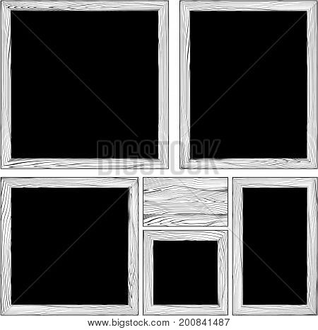 set of various wood frames and wooden plank in black and white