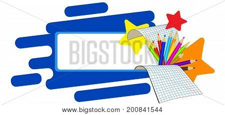 Back to school bubble on blue background with office and stars. Vector illustration. Education cartoon frame.