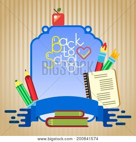 School tools. Board and blue ribbon with the inscription. Banner for celebration or offer 1 September. Vector illustration.