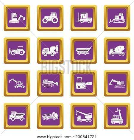 Building vehicles icons set in purple color isolated vector illustration for web and any design