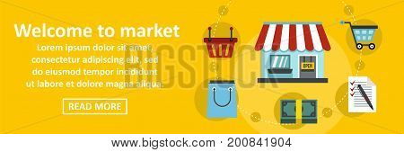 Welcome to market banner horizontal concept. Flat illustration of welcome to market banner horizontal vector concept for web