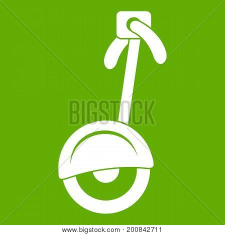 Unicycle icon white isolated on green background. Vector illustration