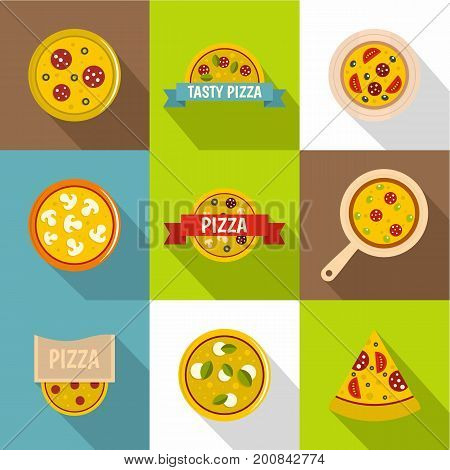 Pizza store icons set. Flat set of 9 pizza store vector icons for web with long shadow