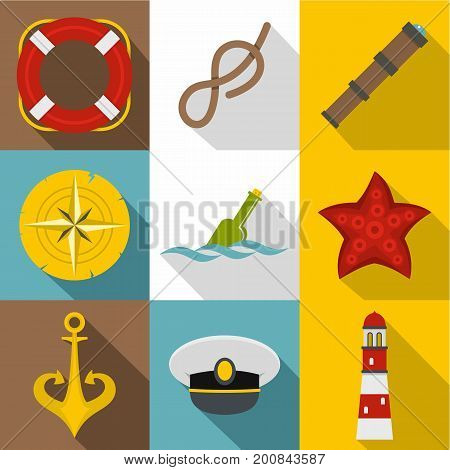 Sea captain icons set. Flat set of 9 sea captain vector icons for web with long shadow