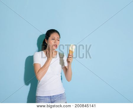 Sweet Attractive Lady Looking At Ice Cream