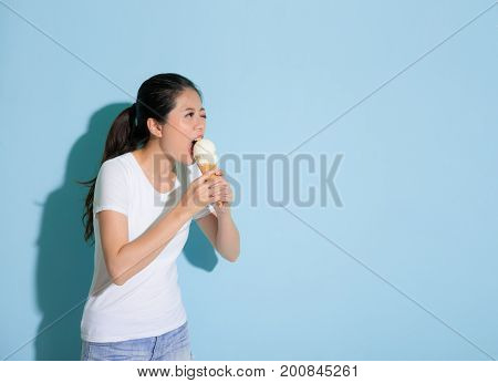 Beautiful Pretty Woman Painful Eating Ice Cream